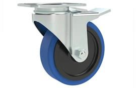 Top Plate Fitting Swivel & Brake Casters - Blue Rubber Wheel, Medium Duty (WDS 12170)