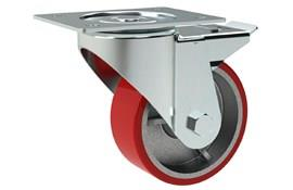 Heavy Duty Swivel & Brake Casters - Red Polyurethane Wheel (WDS 12322)