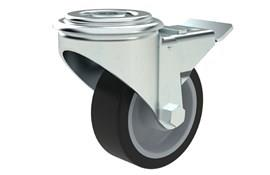 Bolt Hole Fitting Swivel & Brake Castors - Thermoplastic Rubber Wheel (WDS 12332)