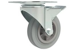 Top Plate Fitting Swivel & Brake Castors - Grey Rubber Wheel (WDS 12338)