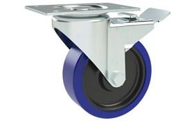 Top Plate Fitting Swivel & Brake Castors Zinc Plated Frame - Blue Rubber Wheel (WDS 12354)