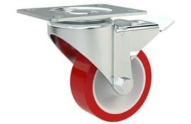 Top Plate Fitting Swivel & Braked Castors - Polyurethane Wheel with Nylon Center (WDS 12364)