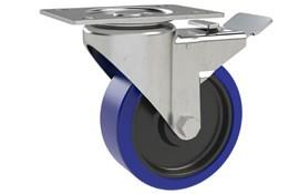 Top Plate Fitting Swivel & Brake Castors 304 Stainless Frame - Blue Rubber Wheel (WDS 12372)