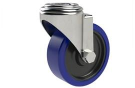 Bolt Hole Fitting Swivel Castors - Blue Rubber Wheel (WDS 12373)