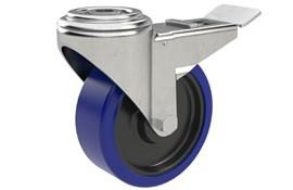 Bolt Hole Fitting Swivel & Brake Castors - Blue Rubber Wheel (WDS 12374)