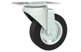 Top Plate Fitting Swivel Castors - Rubber Wheel with Steel Center (WDS 12380)