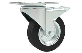Top Plate Fitting Swivel & Brake Castors - Rubber Wheel with Steel Center (WDS 12380)