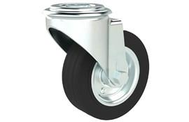 Bolt Hole Fitting Swivel Castors - Rubber Wheel with Steel Centre (WDS 12381)