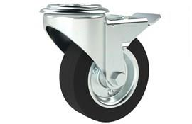 Bolt Hole Fitting Swivel & Brake Castors - Rubber Wheel with Steel Centre (WDS 12381)