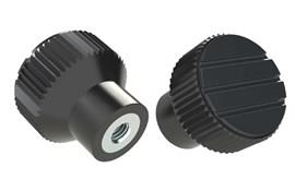 Knurled Knob - Black Grey - Thermoplastic with Steel Insert (WDS 8440)