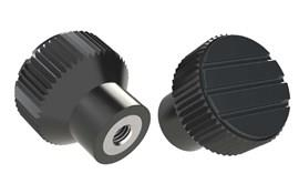 Knurled Knob - Black Gray - Thermoplastic with Stainless Steel Insert (WDS 8440)