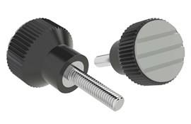 Knurled Knob - Pale Grey - Thermoplastic with Stainless Steel Screw (WDS 8440)