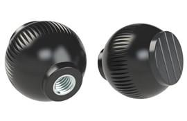 Grip Ball Knob - Black Gray - Thermoplastic With Steel Insert (WDS 8470)