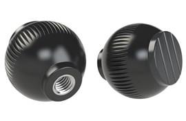 Grip Ball Knob - Black  Gray - Thermoplastic With 303 Stainless Steel Insert (WDS 8470)