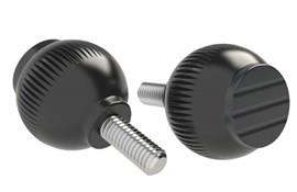 Grip Ball Knob - Black  Gray - Thermoplastic With 303 Stainless Steel Screw (WDS 8470)