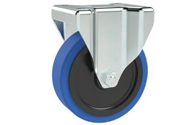Top Plate Fitting Fixed Castors - Blue Rubber Wheel Medium Duty (WDS 12170)