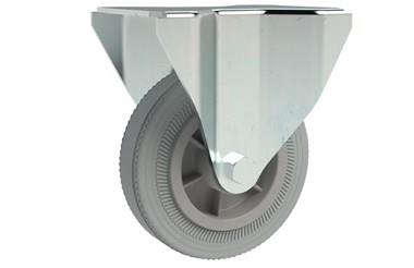 Top Plate Fitting Fixed Castors - Grey Rubber Wheel (WDS 12334)