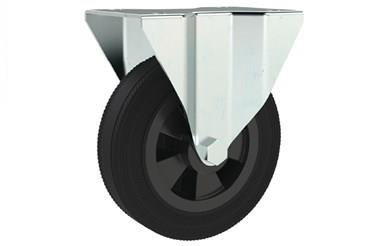 Top Plate Fitting Fixed Castors - Black Rubber Wheel (WDS 12344)