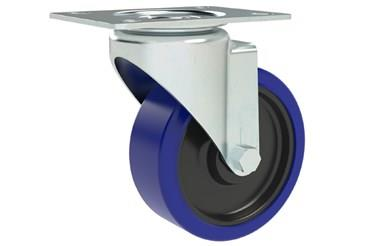Top Plate Fitting Swivel Castors - Blue Rubber Wheel (WDS 12353)