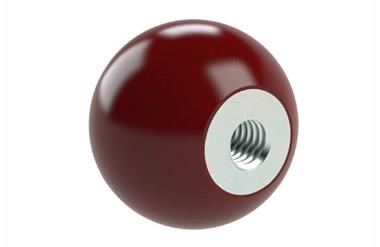 Ball Knob - Red Bakelite with Zinc Plated Steel Insert (WDS 8143)