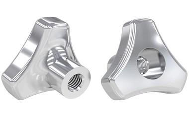 Tri-Knob with Threaded Through Hole - 316 Stainless Steel Polished (WDS 8147)