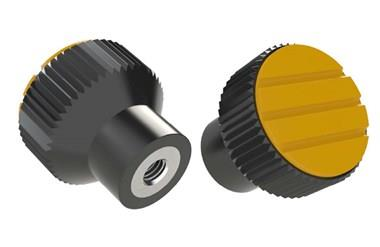 Knurled Knob - Cadmium Yellow - Thermoplastic with Stainless Steel Insert (WDS 8440)