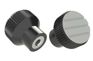 Knurled Knob - Pale Grey - Thermoplastic with Stainless Steel Insert (WDS 8440)