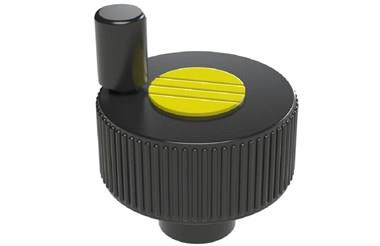 Positioning Wheel with Revolving Grip Tapped Hole - Cadmium Yellow (WDS 8490)