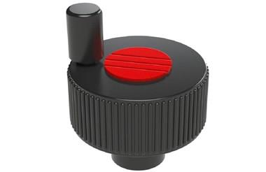 Positioning Wheel with Revolving Grip Tapped Hole - Traffic Red (WDS 8490)