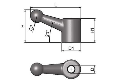 Ball Handle - Single Leg - Imperial - BSW or UNC (WDS 101)