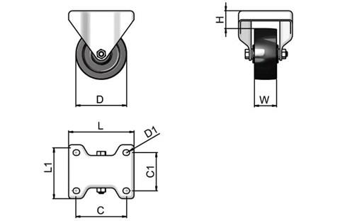 Top Plate Fitting Fixed Castors - Phenolic Resin Wheel (WDS 12187)