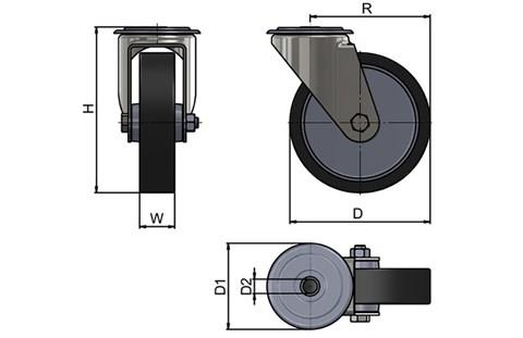 Bolt Hole Fitting Swivel Casters - Thermoplastic Rubber Wheel (WDS 12330)