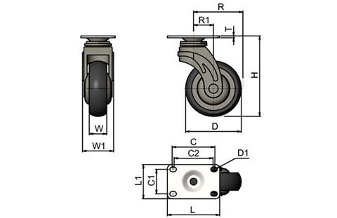 Rubber Castors with Plastic Body - Plate Fitting (WDS 12360)