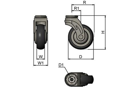 Rubber Castors with Plastic Body - Bolt Fitting (WDS 12361)