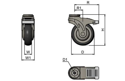 Rubber Castors with Plastic Body - Bolt Fitting Braked (WDS 12361)