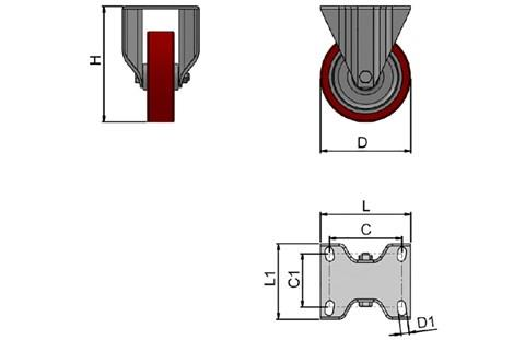 Top Plate Fitting Fixed Castors - Polyurethane Wheel with Nylon Centre (WDS 12363)