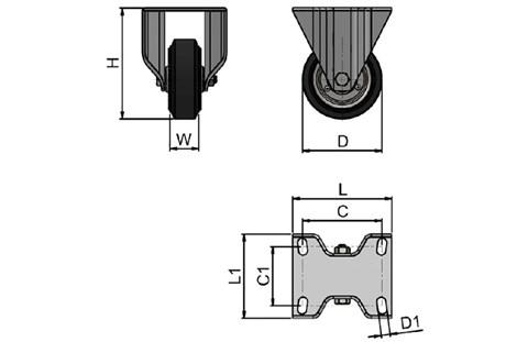 Top Plate Fitting Fixed Castors - Rubber wheel with Steel Centre (WDS 12380)