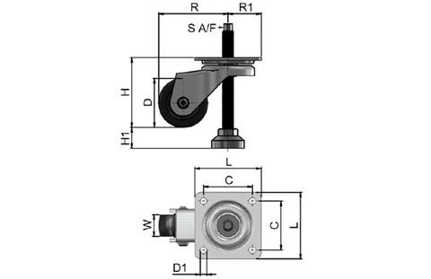 Heavy Duty Adjustable Height Levelling Castors - Plate Fitting Spanner Operated (WDS 12396)