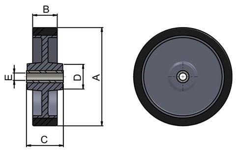 Thermoplastic Rubber Wheels for Castors (WDS 12404)