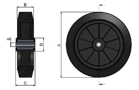 Black Rubber Wheel with Black Polypropylene Core (WDS 12409)
