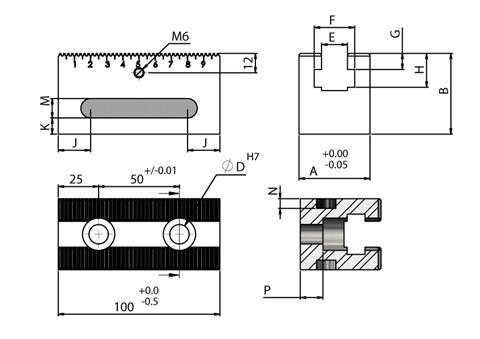 200mm Length OK Vise Rail-RM TYPE for WDS 220 Series Clamps (WDS 240)