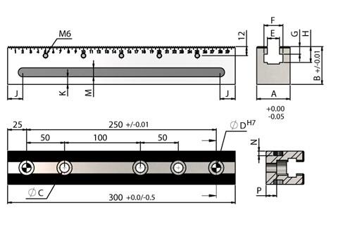 300mm Length OK Vise Rail-RM TYPE for WDS 220 Series Clamps (WDS 240)
