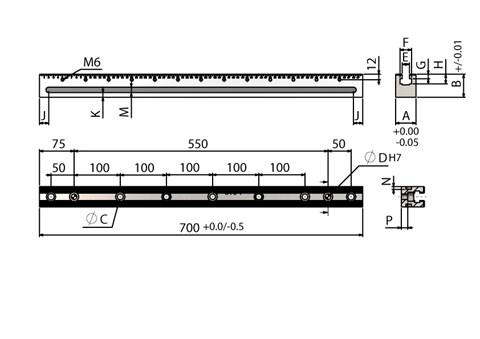 700mm Length OK Vise RAIL for WDS 220 Series Clamps (WDS 240)