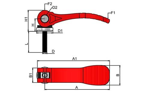 Cam Lever (Cam Clamp) - Red Plastic Handle with Adjustable Steel Screw (WDS 363)