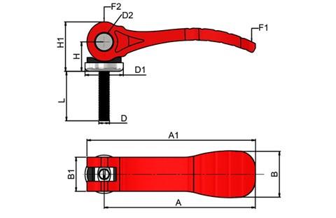 Cam Lever (Cam Clamp) Red Plastic Handle - Stainless Steel Screw (WDS 365)