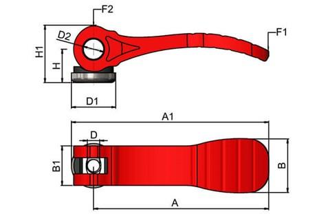 Cam Lever (Cam Clamp) Red Plastic Handle - Stainless Steel Washer (WDS 367)
