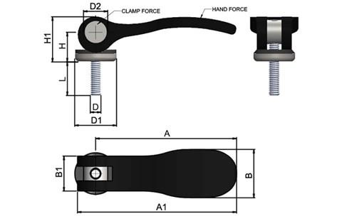Cam Lever (Cam Clamp) - Aluminium Handle with Stainless Pin (WDS 368)