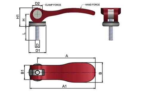 Cam Lever (Cam Clamp) - Red Aluminium Handle with Stainless Pin (WDS 368)