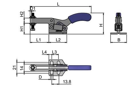 Toggle Clamp - Horizontal Clamp with Adjustable Spindle (WDS 4025)