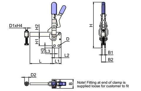 Locking Toggle Clamp - Vertical Solid Arm (WDS 4075)